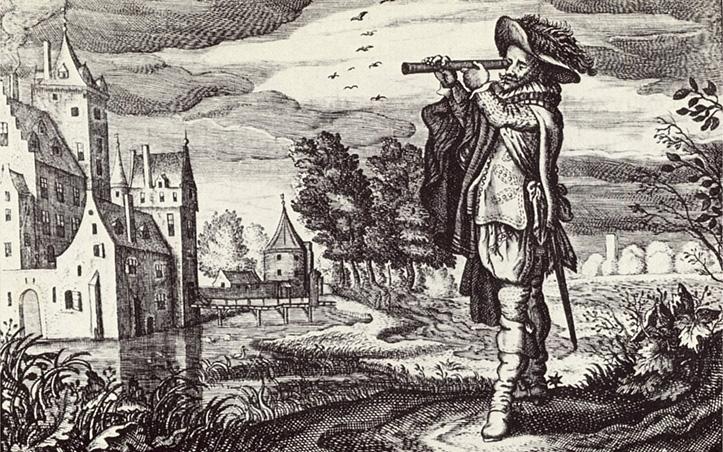 Mees hollandi teleskoobiga aastast 1624