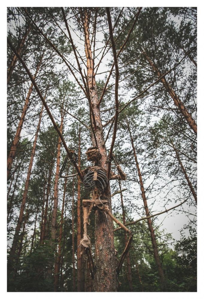 Installatsioon metsatukas. Neid tegelasi oli seal omajagu ja õnneks püsisid nad liikumatult.