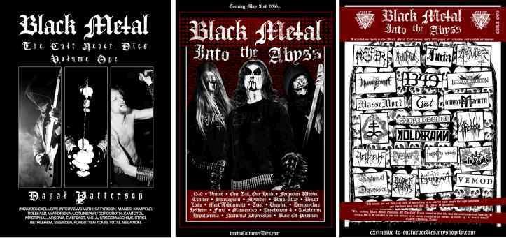 """""""Black Metal: Cult Never Dies. Volume One"""" / """"Black Metal: Into the Abyss"""" esikaas - raamat sisaldab ka kodumaist ansamblit Loits / """"Black Metal: Into the Abyss"""" tagakaas - bändilogode seas näha ka Loitsu oma"""