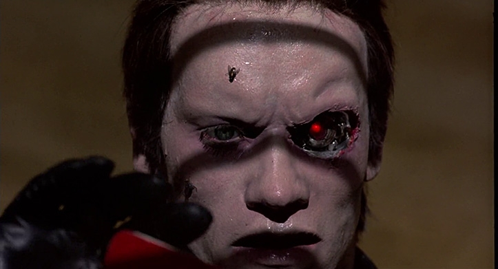 ZOMBIROBOT. Põhjus, miks T-800 terve filmi higistas, oli tingitud tehisnaha äratõukereaktsioonist, kuna see oli mõeldud ajutiseks kandmiseks. Nimelt kippus orgaanika pikema aja jooksul roiskuma, lisades filmile zombihorrori elemente. Terminator'i kulmud on selleks ajaks juba ära põlenud, ent juuksed on jätkuvalt korralikult peas. Kas on alust kahtlustada hirmuäratava asbestikiu kasutamist?