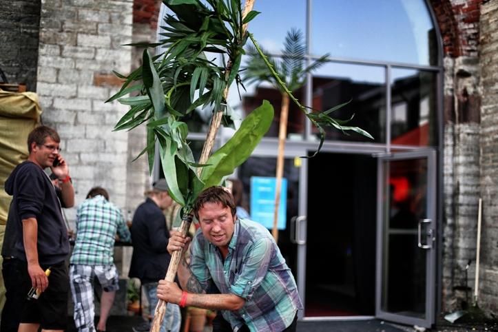 Psychoterrori Fred on mulle 10 Eesti krooni võlgu. Siin kabistab ta plastmassist palme.