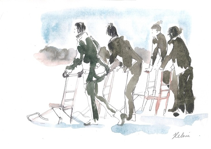 Akvarellides plaadikujundus, illustratsioonid Helmi Arrak ja kujundas Taavi Drell